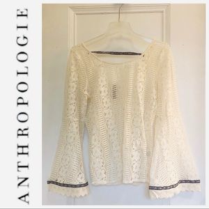 ANTHROPOLOGIE ENTRO Lace Bell Sleeve Top